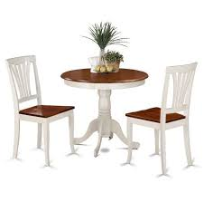 table 2 chairs. 3-piece dining set dinette solid wood round table 2 chairs room kitchen\u2026