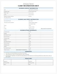 New Client Information Sheet Template Form Kennyyoung