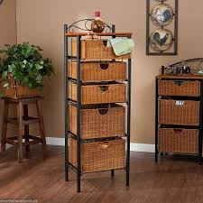 Wicker Basket Cabinet Rattan Bathroom Storage Units House Decor