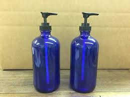 blue soap dispenser 2pk imperfect cobalt blue glass16oz bottles w choice pumps