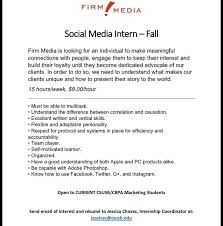 Firm Media is looking for a Social Media Intern for Fall. Send email of  interest and resume to the Internship Coor | Pinterest