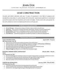 Construction Worker Resume Example Carpenter Supervisor