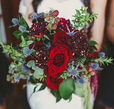 Deep Red And Blue Wedding Bouquet Deer Pearl Flowers