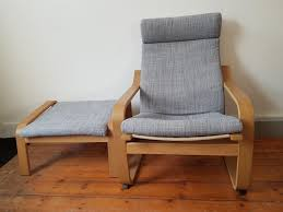 ikea poang chair and stool in grey excellent condition 1 of 7only 1 available