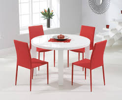 atlanta 120cm round white high gloss dining table with atlanta stackable chairs