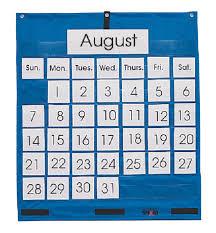 School Smart Pocket Chart Calendar 25 X 28 In