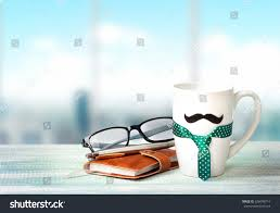 office space coffee mug. Coffee Break Indoor Office.Fathers Day Holiday Greeting Card Background.White Mug With Mustache Office Space