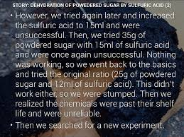 story dehydration of powedered sugar by sulfuric acid 2
