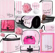 details about 1 victoria s secret vs pink stripe travel hanging train case makeup brush bag