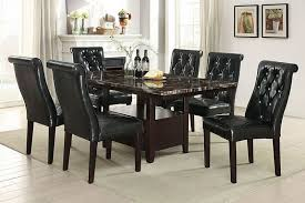 7 pc ah ii collection espresso finish wood faux marble top dining table set with tufted chairs this set includes the table with faux marble top