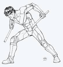 nightwing robin coloring pages deviantart for