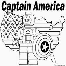 Coloriage Lego Marvel Captain America Dessin