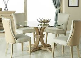 Round glass dining table Large Silver Coast Company Round Glass Dining Table In Stone Wash Finish