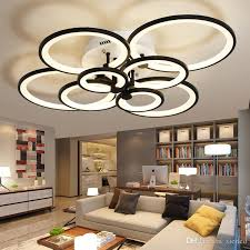 dimmable remote control living study room bedroom modern led chandelier light white black 4 6 8 rings surface mounted led chandelier fixture chandelier