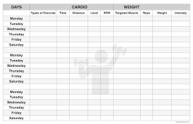 Workout Plan Template for Men, Women to lose Weight | Workout Log