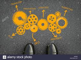 Business Plan With Chart On Asphalt Road Background Stock