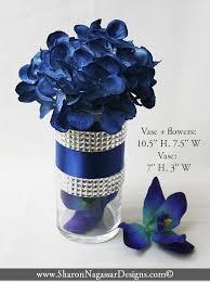 Navy, silver, rhinestone, crystal, floral arrangement, centerpiece, silk,