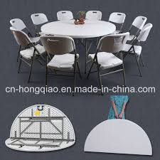 china 5ft round folding in half table 152cm plastic foldable round banquet table outdoor portable small round dining table china 5ft folding in half