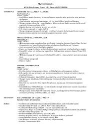 Installation Manager Resume Samples Velvet Jobs