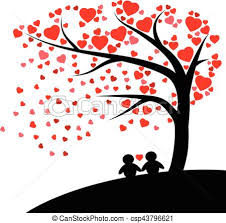 hearts silhouette lovely silhouette couple under the tree with red hearts fall