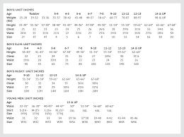 Boys Husky Size Chart
