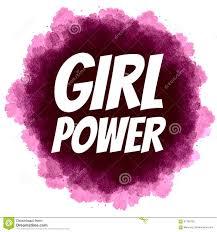 Girl Power Feminist Slogan On Digital Watercolor Background Stock