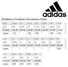 Adidas Boys Size Chart Adidas Boys Size Chart