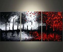 black and red paintings hand painted oil wall art abstract black white and red paintings 3