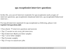 Spa Receptionist Interview Questions Inspiration Spa Receptionist Resume