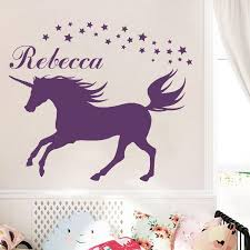 custom made diy unicorn wall decal personalized name vinyl wall sticker decal magical unicorn vinyl room bedroom decor canada 2018 from harriete