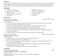 Resume For Security Guard Job Samples Project Ideas Officer Sample 2