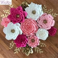 Diy Paper Flower Fengrise 2pcs 20cm Diy Paper Flowers Backdrop Decorative Artificial