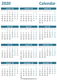Calendar Yearly 2020 Printable Yearly Calendar 2020