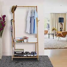 Coat Stand And Shoe Rack Hallway Wooden Rail Clothes Hanging Coat Stand Shoe Rack Shelve 74