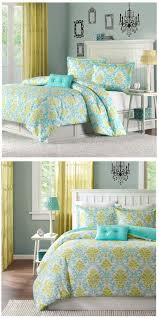 turquoise blue lime green damask scroll bedding twin xl full queen comforter quilt duvet cover set