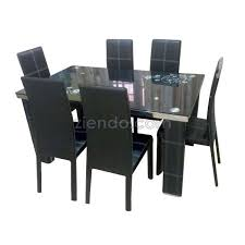 glaze 6 seater glass dining table set
