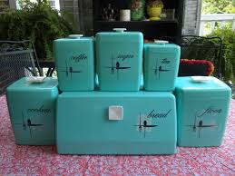 Retro Kitchen Canisters Details About Vintage Atomic Aqua Blue 11 Pc Lustro Ware Canisters