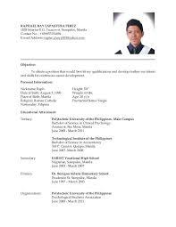 ojt resume. Filipino Student Resumes Ojt Resume and Menu