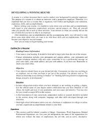 Resume Outline Guidelines Examples