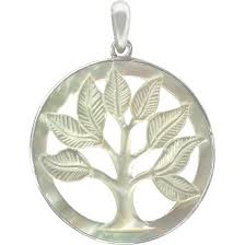 mother of pearl pendant. P2220 -SV-CHRM Hand Carved Mother Of Pearl Pendant - Tree Life