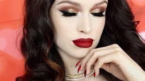 gold glitter smokey eye dark red lips makeup tutorial you