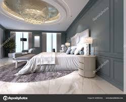 Elegante Schlafzimmer Innenraum Mit Großen Bequemen Bett Und Sofa