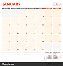 2020 2020 Weekly Planner Calendar Planner For January 2020 Stationery Design