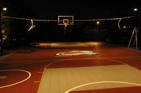 sport game court illuminated with low voltage lighting