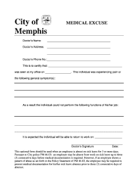 Fillable Online Memphistn Medical Excuse Form City Of Memphis