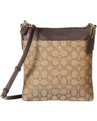 COACH - Signature Messenger Crossbody (Light Khaki Brown) Cross Body  Handbags