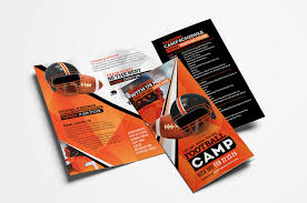 tri fold brochures american football camp tri fold brochure template in psd ai