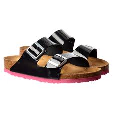 birkenstock arizona birkoflor standard fitting classic buckled two strap flip flop sandal black patent womens from shoe uk