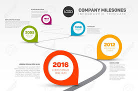 Timeline Template Vector Infographic Company Milestones Timeline Template With