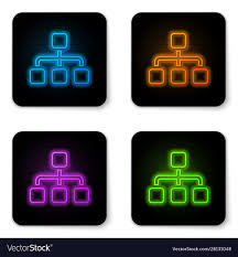 Glowing Neon Business Hierarchy Organogram Chart
